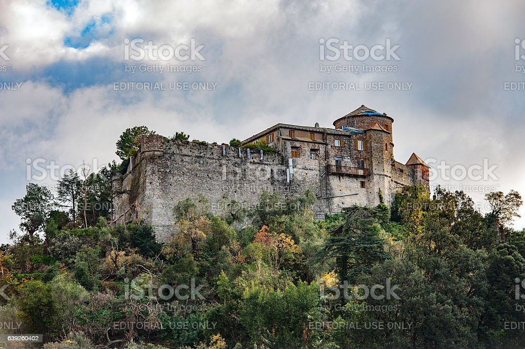 Old medieval castle, located on a hill stock photo