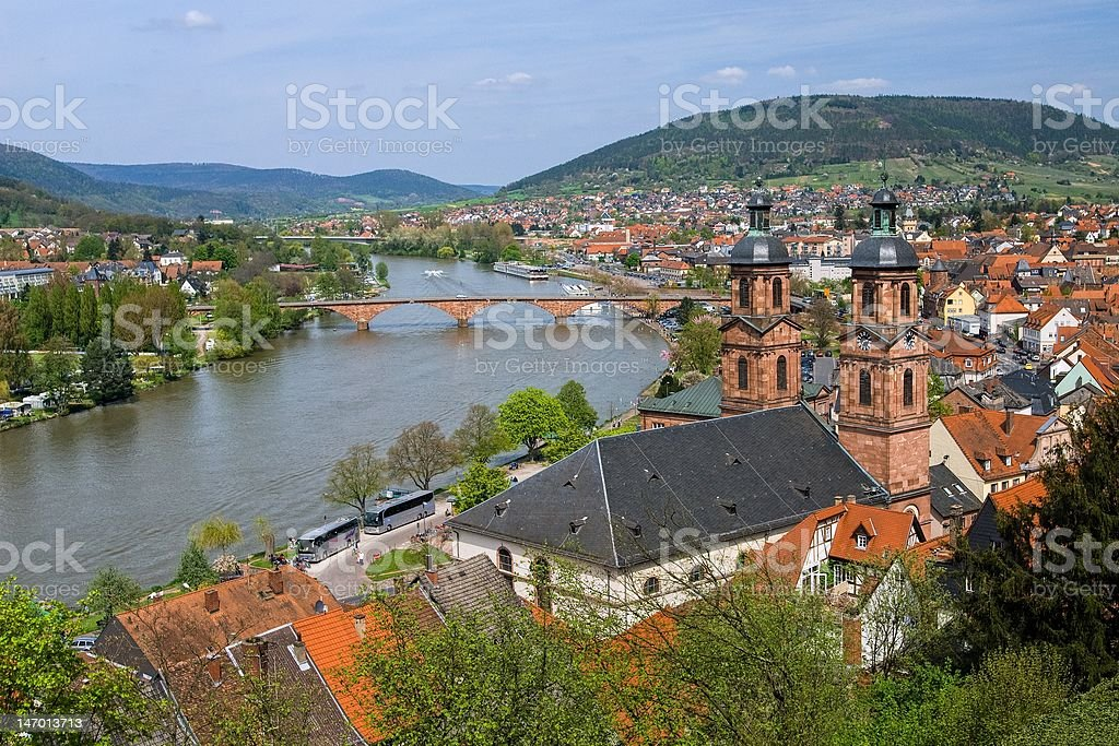 Old medieval german town on Main river stock photo