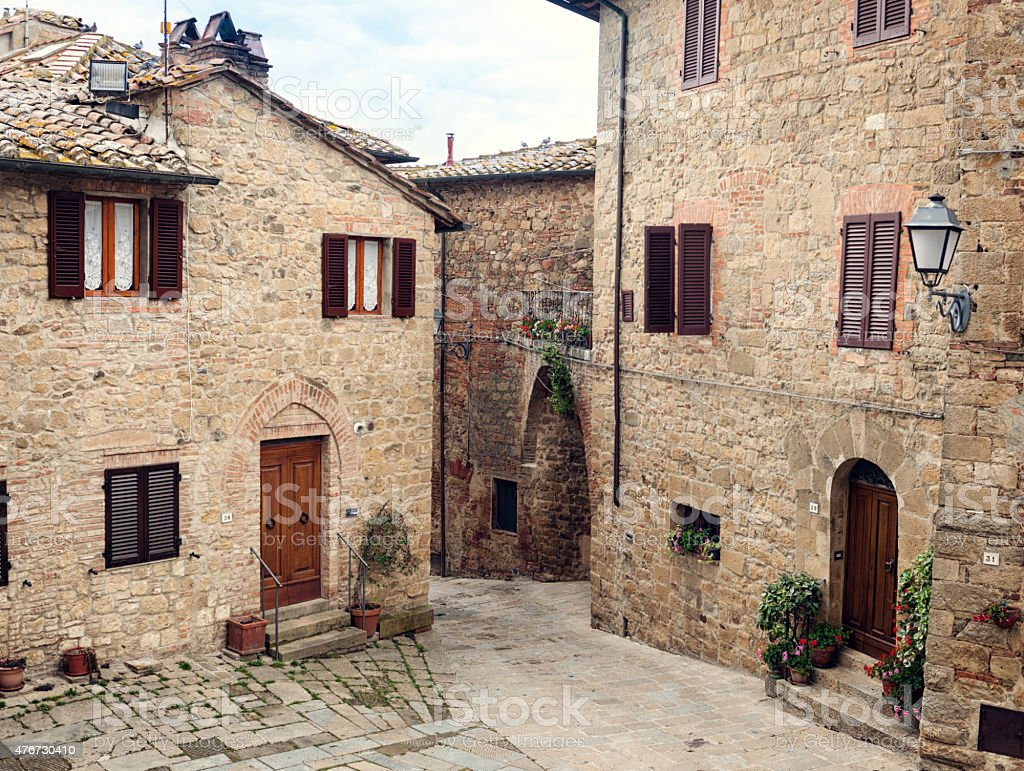 Old medieval small town Monticchiello in Tuscany stock photo