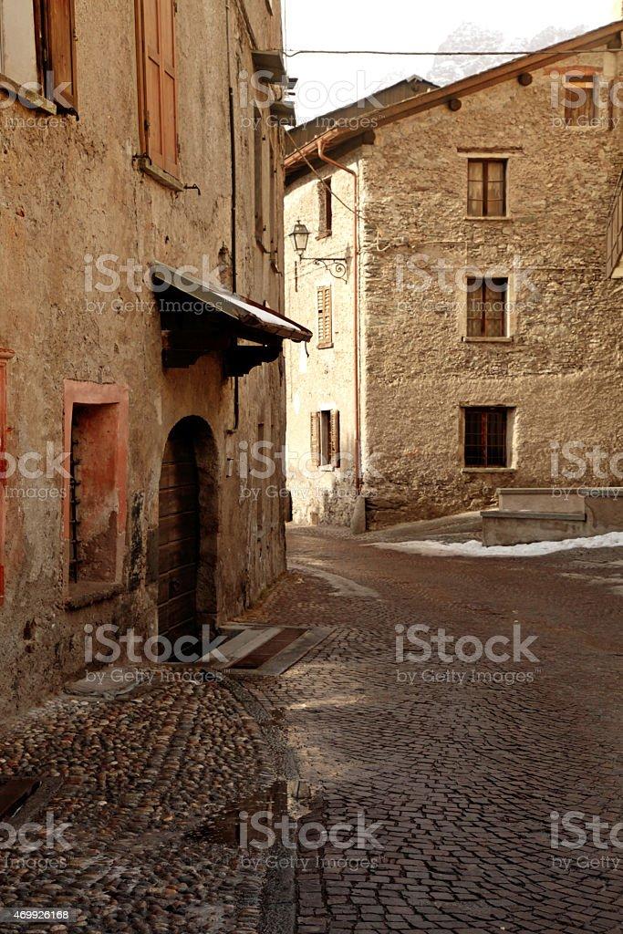old medieval stone buildings, Bormio, Italian Alps, Italy stock photo