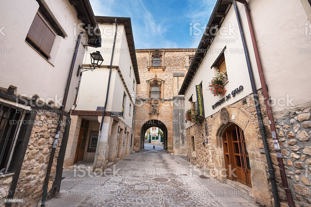 Old medieval street in Covarrubias, Burgos, Spain. stock photo