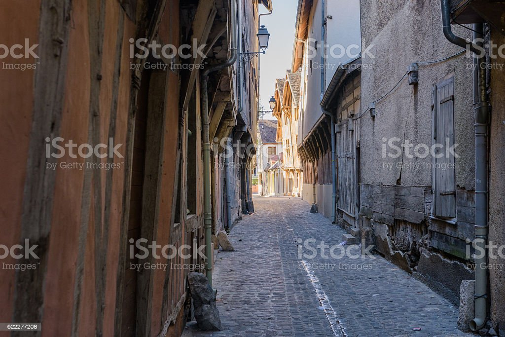 old medieval street with timbered houses in Troyes stock photo