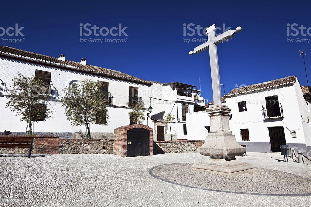 Old Memorial Cross in the Albayzin, Granada, Spain stock photo