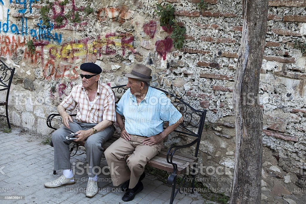 Old Men Sitting in Durres (Albania) royalty-free stock photo