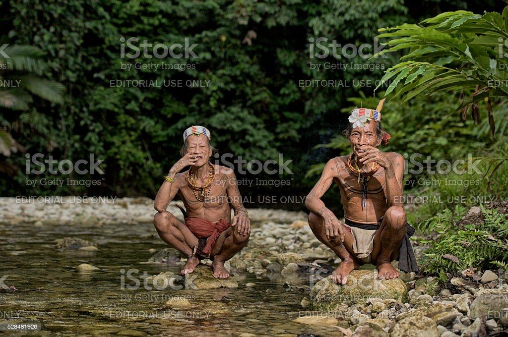 Old mens of Mentawai. stock photo