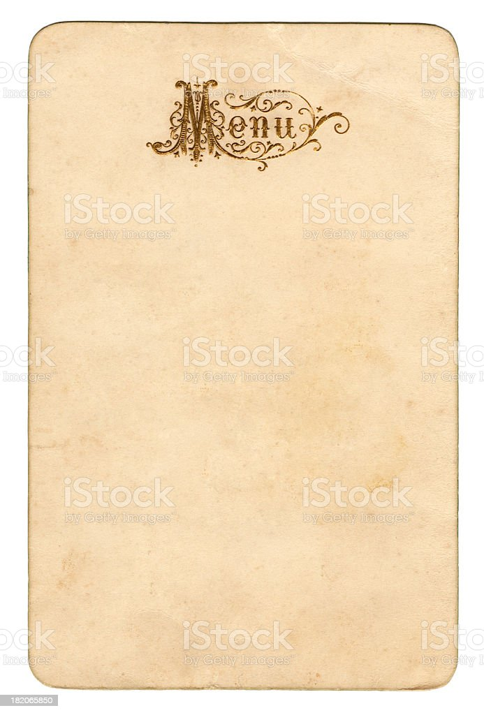 Old menu card (approx. 1913) stock photo