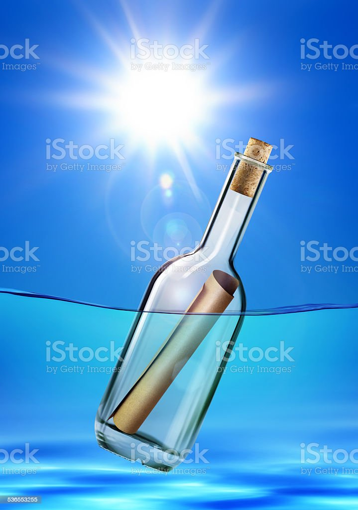 old message in a bottle stock photo