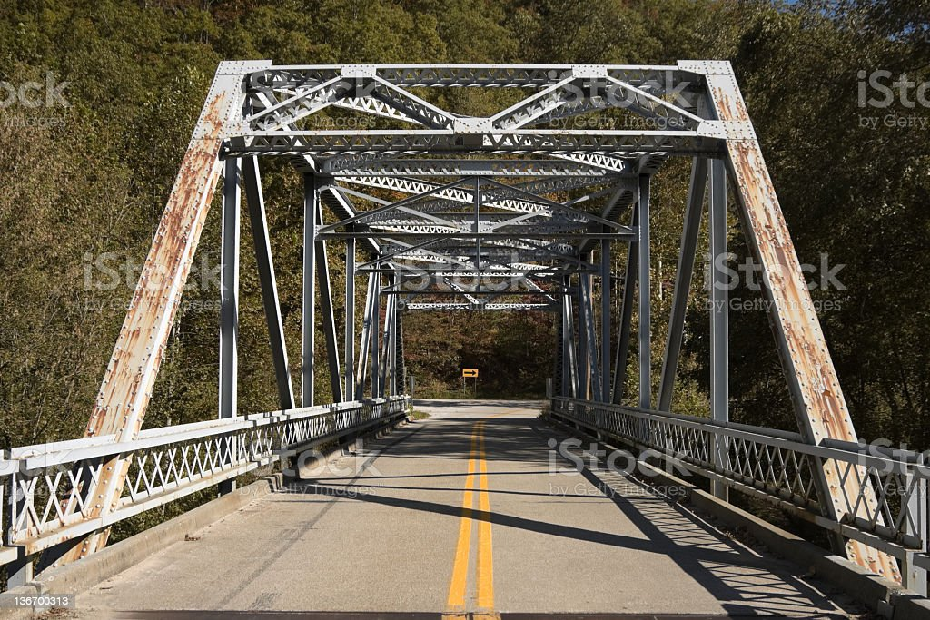 Old Metal Bridge and Two Lane Highway stock photo