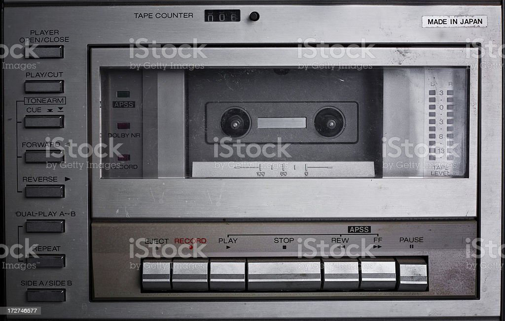 Old Metal Cassette Deck Player stock photo