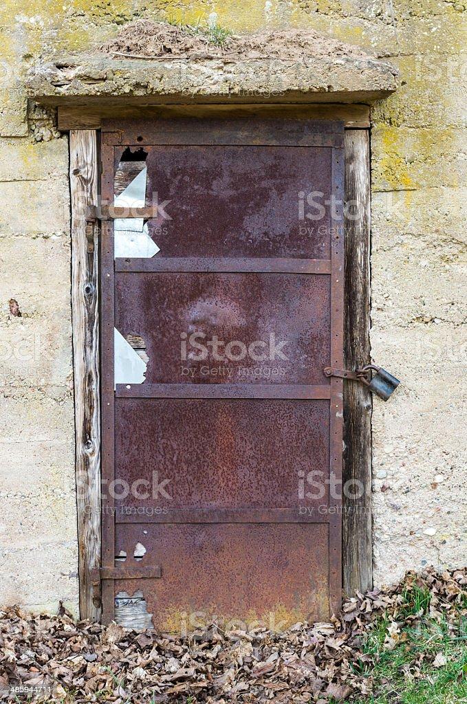 Old metal doors stock photo