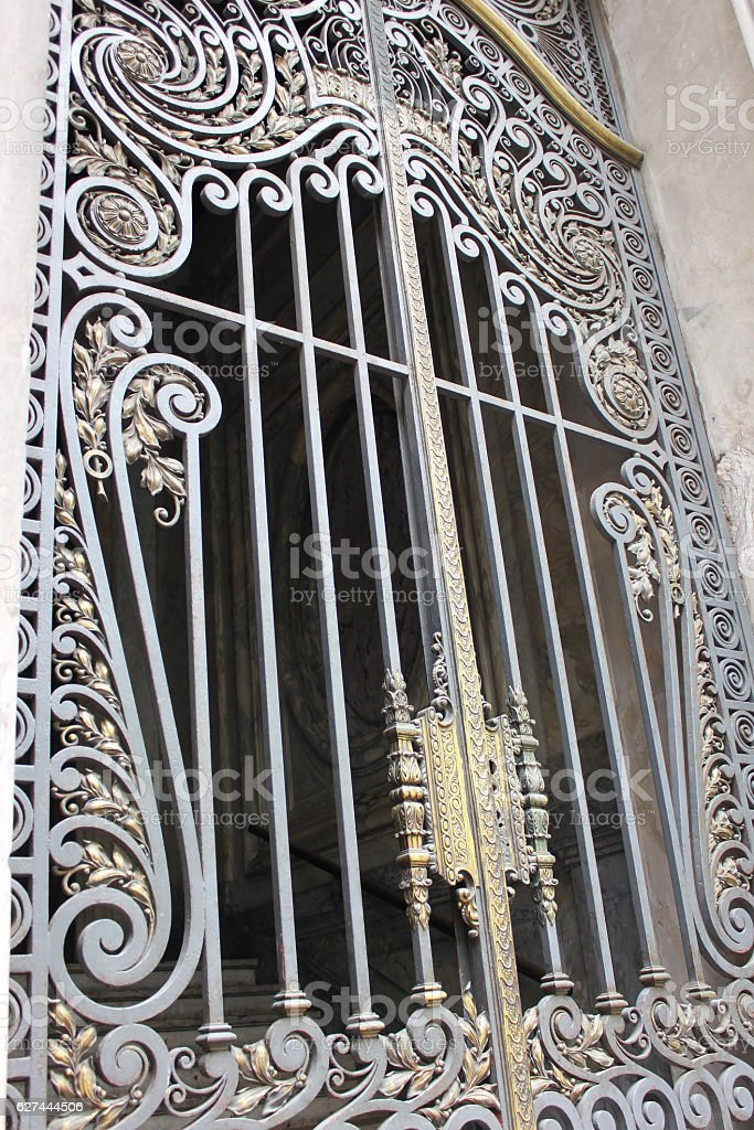 Old metal latticed door stock photo