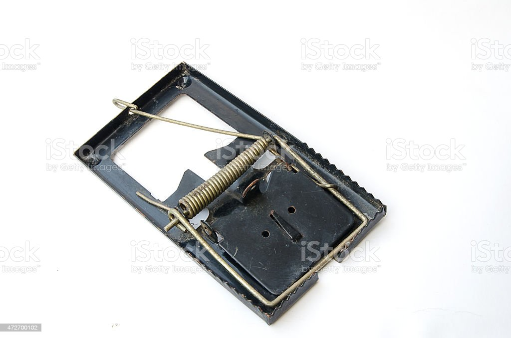 Old Metal mousetrap on a white background stock photo