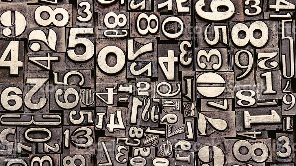 old metal numbers stock photo