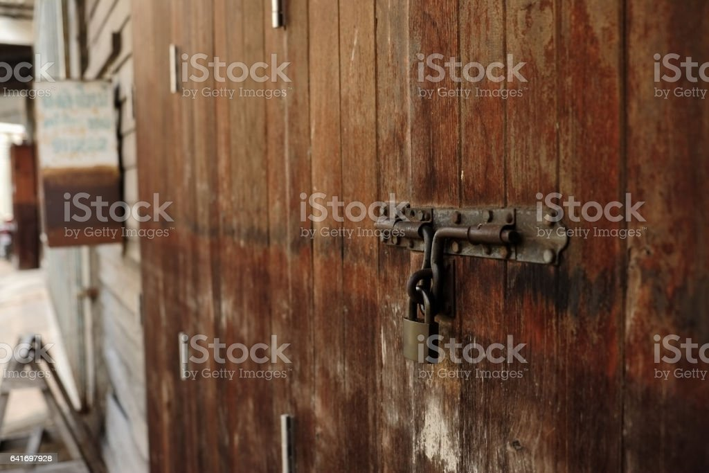Old metal padlock and latch. stock photo