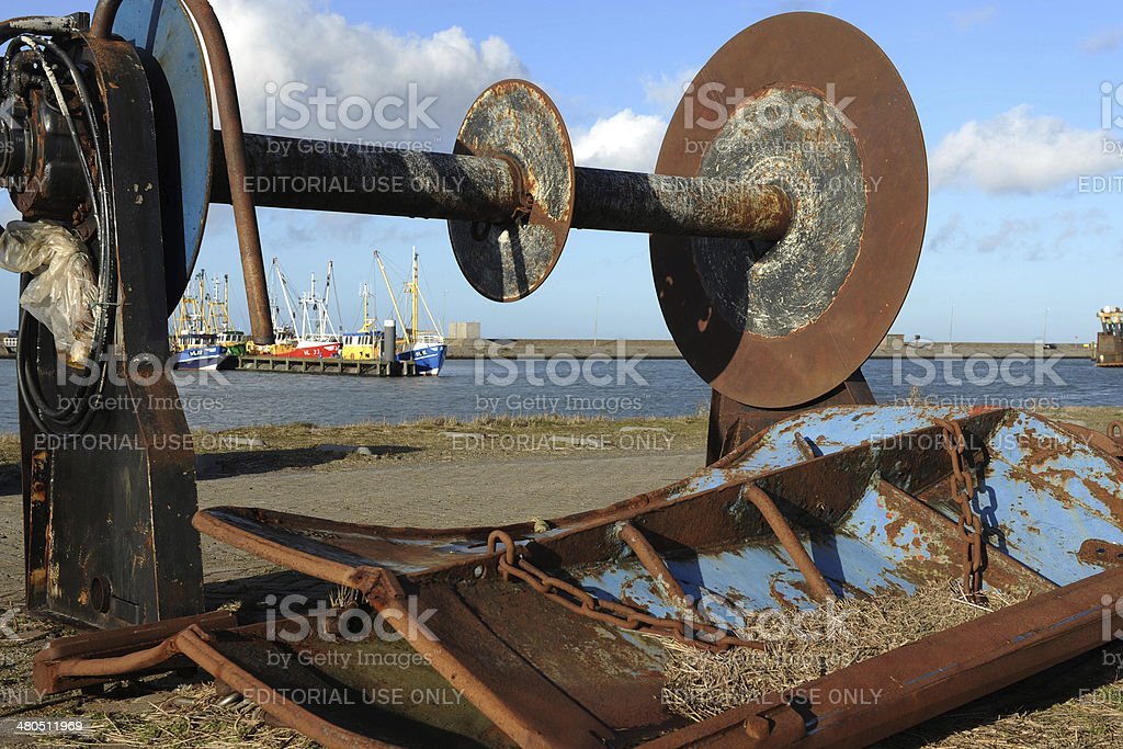 Old metal parts from fishing boats stock photo