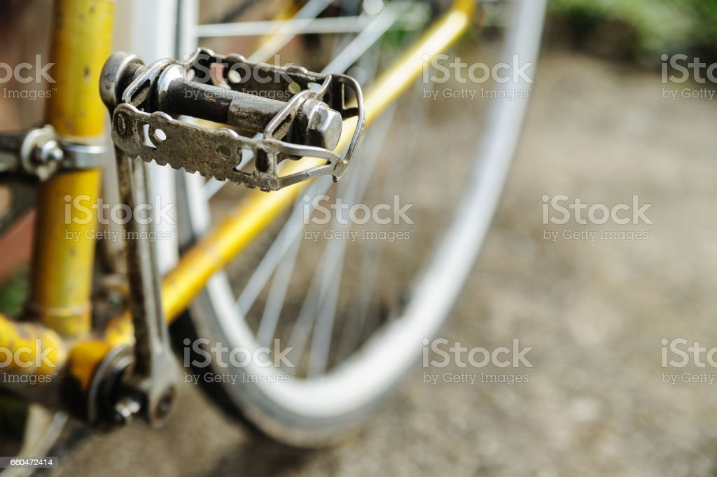 Old metal pedal of a bicycle. stock photo