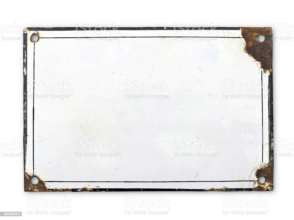 Old metal plate with rust and white royalty-free stock photo