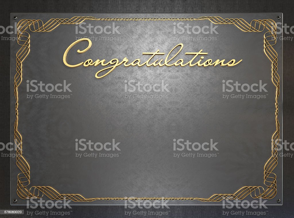 Old metal plate with vintage pattern and the words 'Congratulations' stock photo