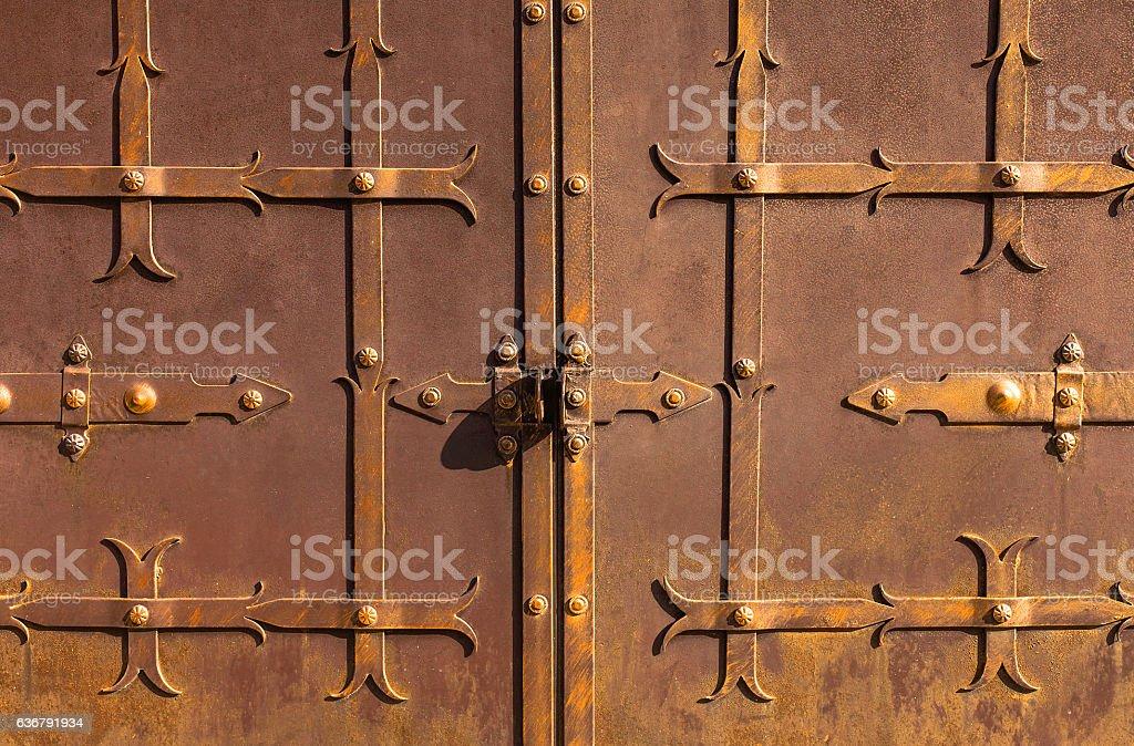 Old metal rusty door. stock photo