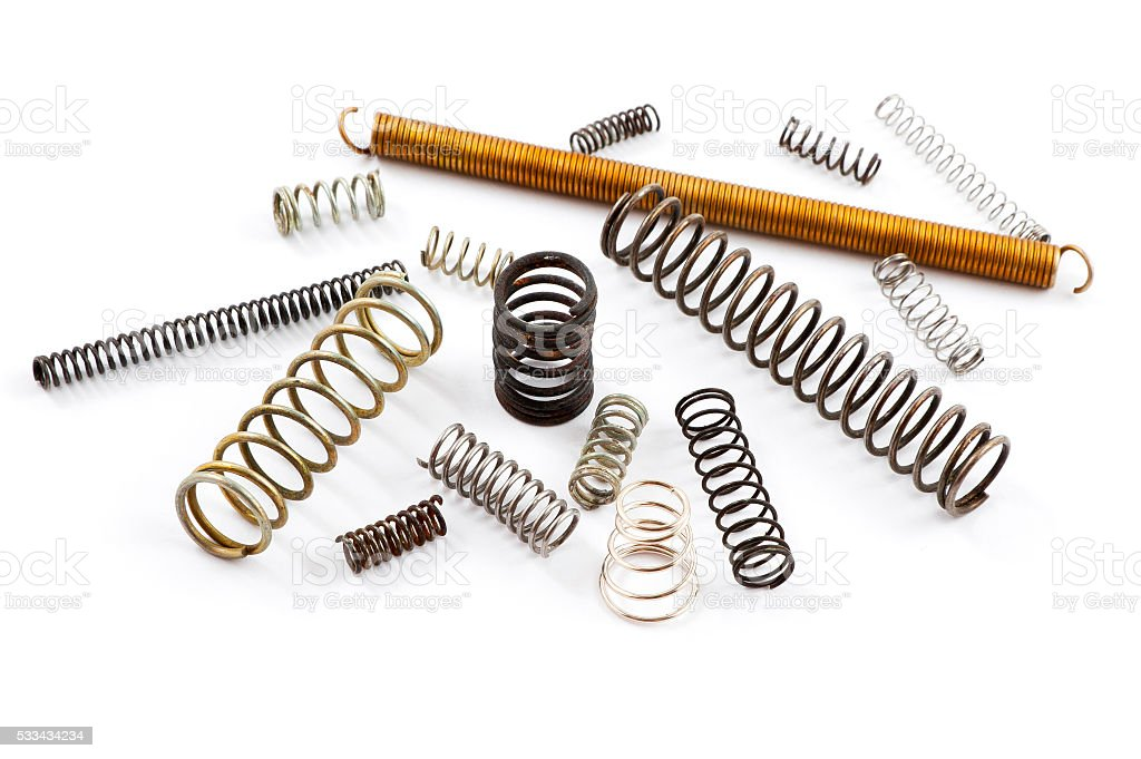 Old metal springs isolated on white background stock photo