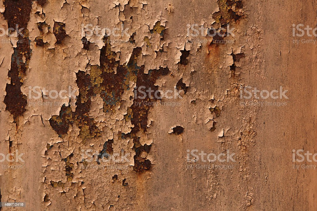 Old metal wall colored in brown. Background texture. stock photo