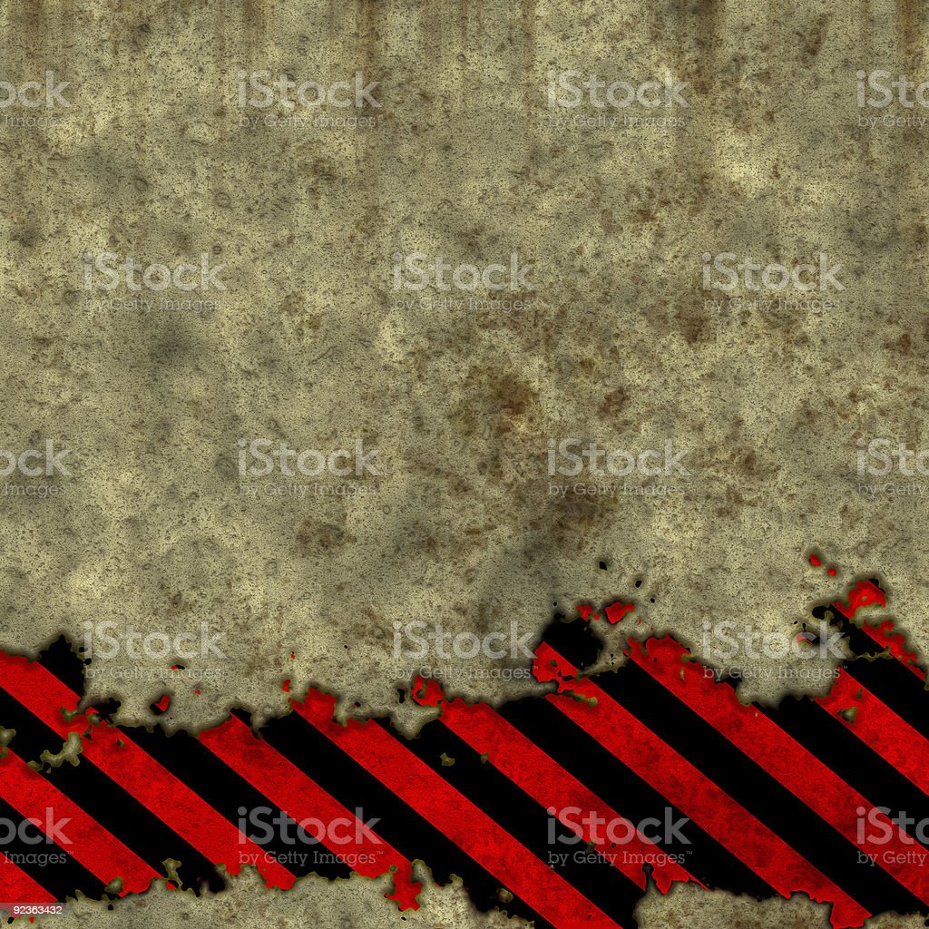 Old metal wall with warning tape royalty-free stock photo