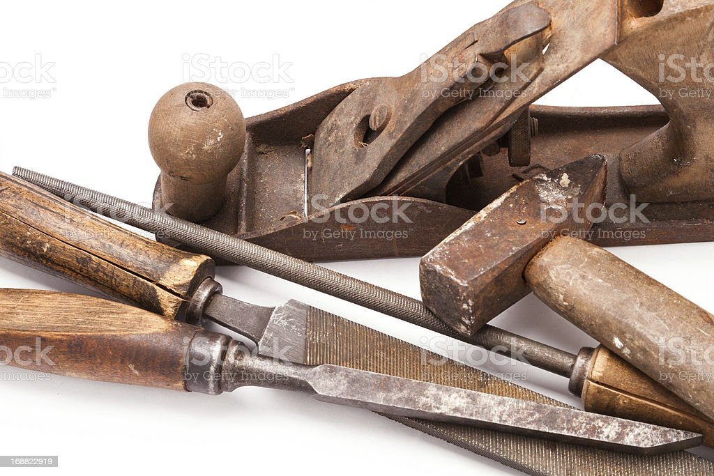 old metal work hand tools with rust on white royalty-free stock photo