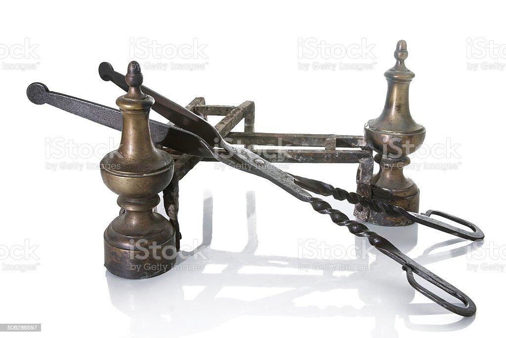 Old Metallic Andirons whit Pincers stock photo