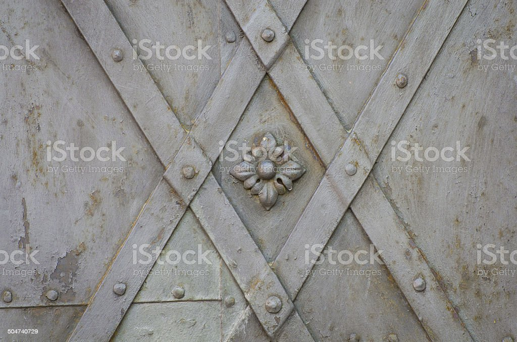 old metallic gate floral pattern royalty-free stock photo