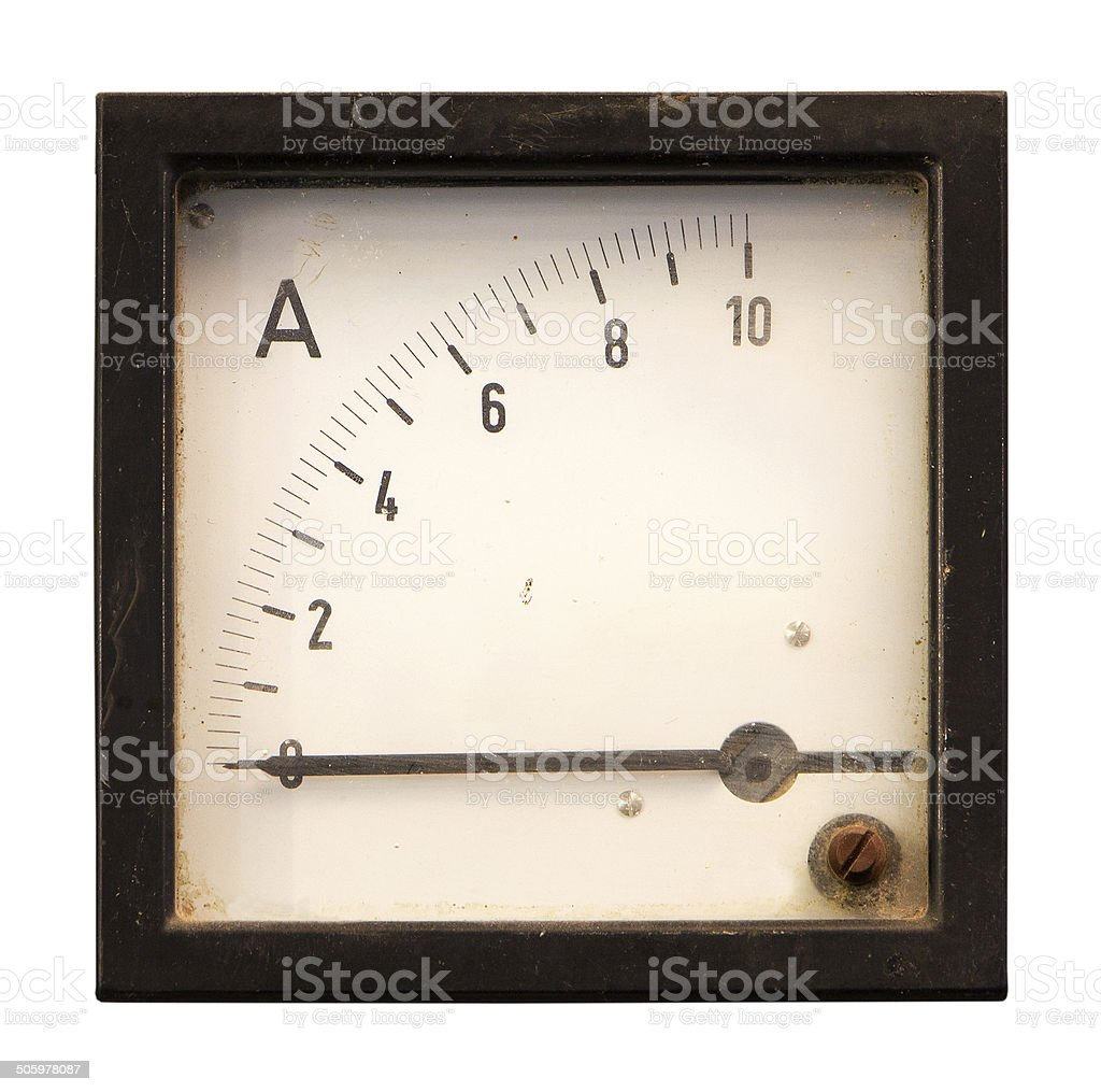 Old meter isolated on white background stock photo