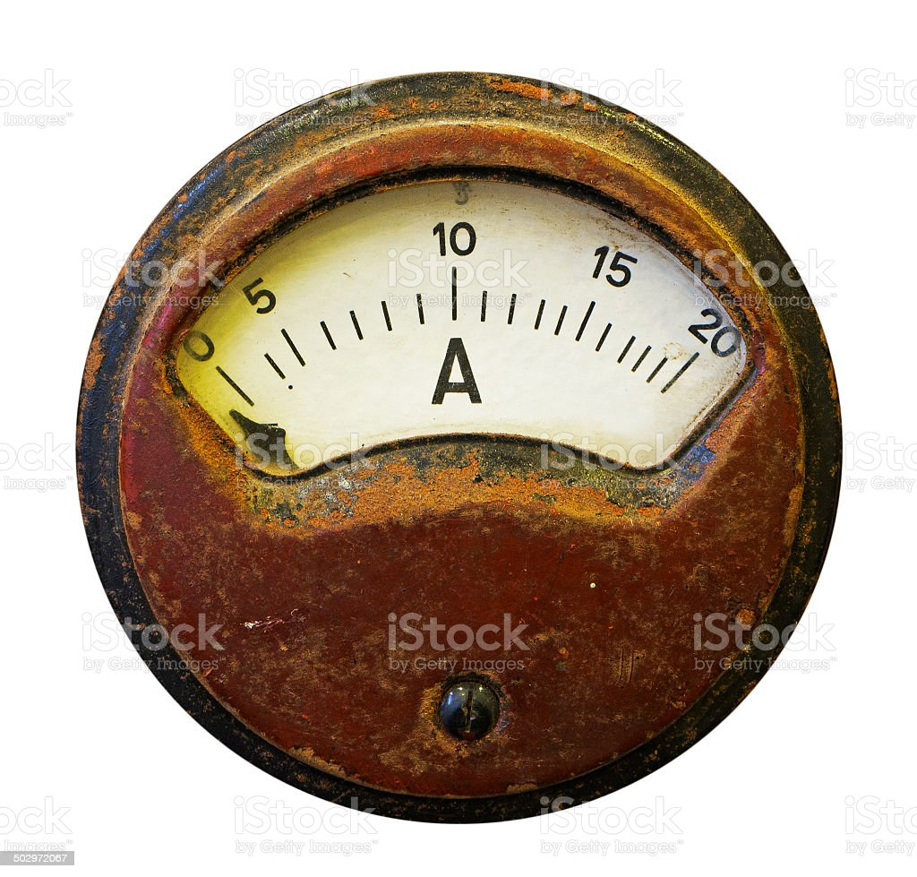 Old meter on white background stock photo