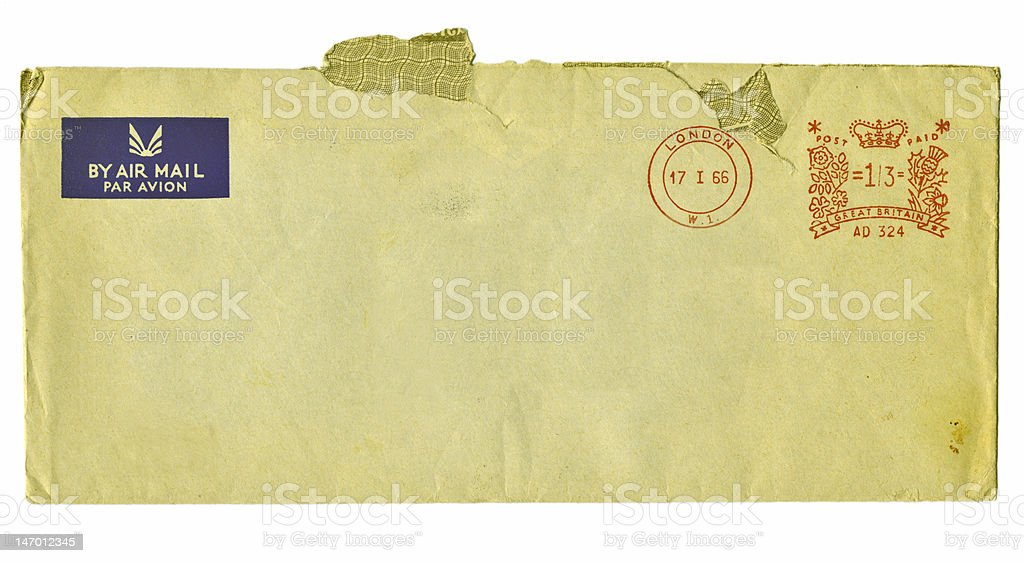 Old metered airmail envelope royalty-free stock photo