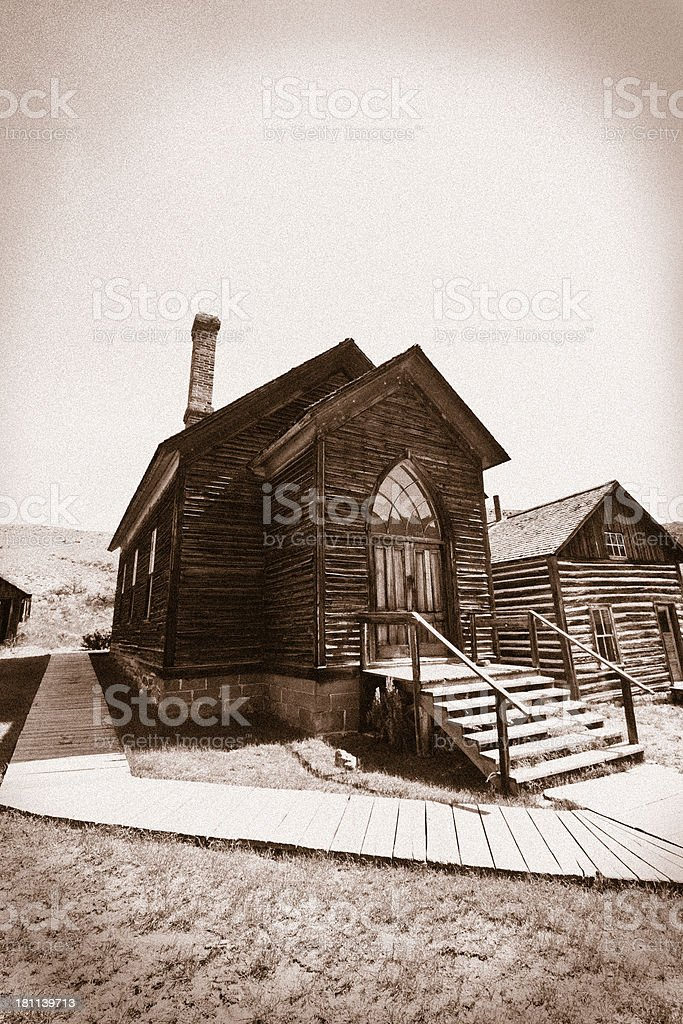 Old Methodist Church in Bannack Montana Ghost Town stock photo