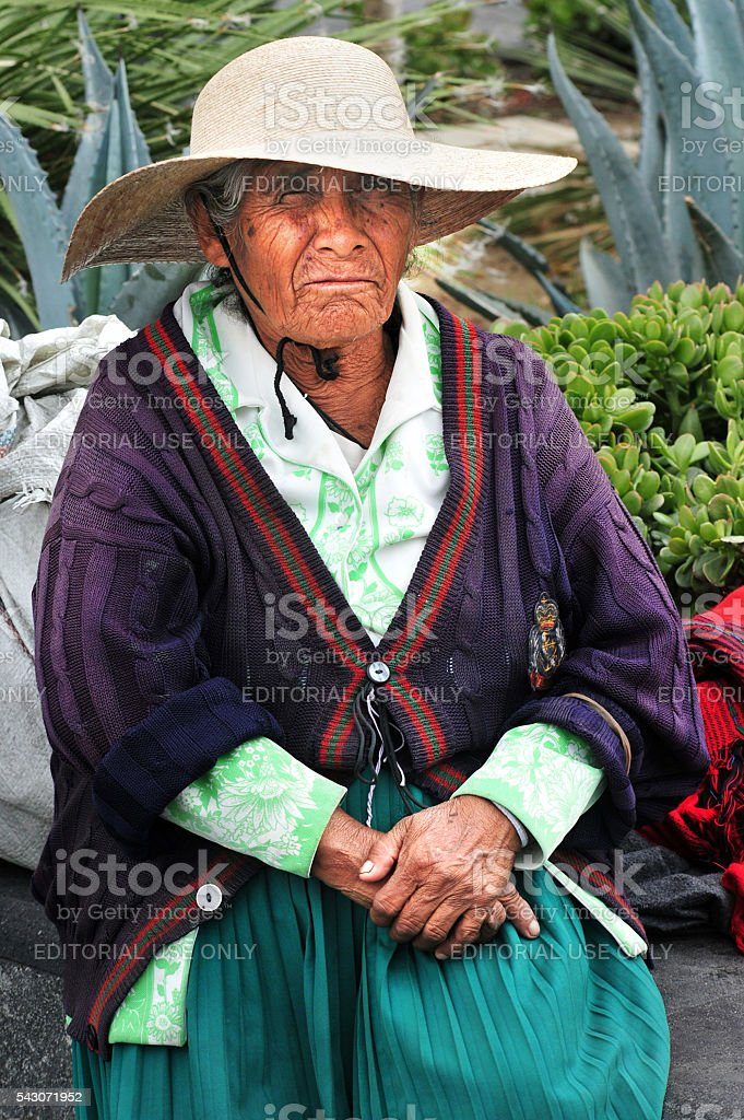 Old Mexican woman in Mexico City, Mexico stock photo