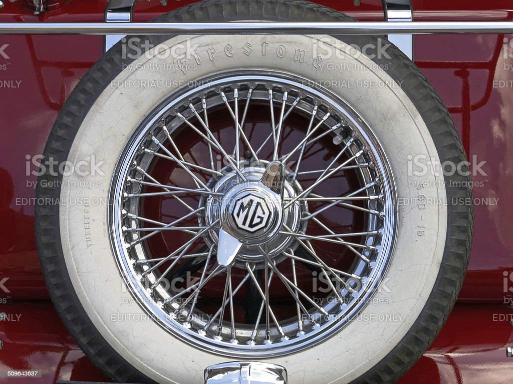 old MG spare tire stock photo