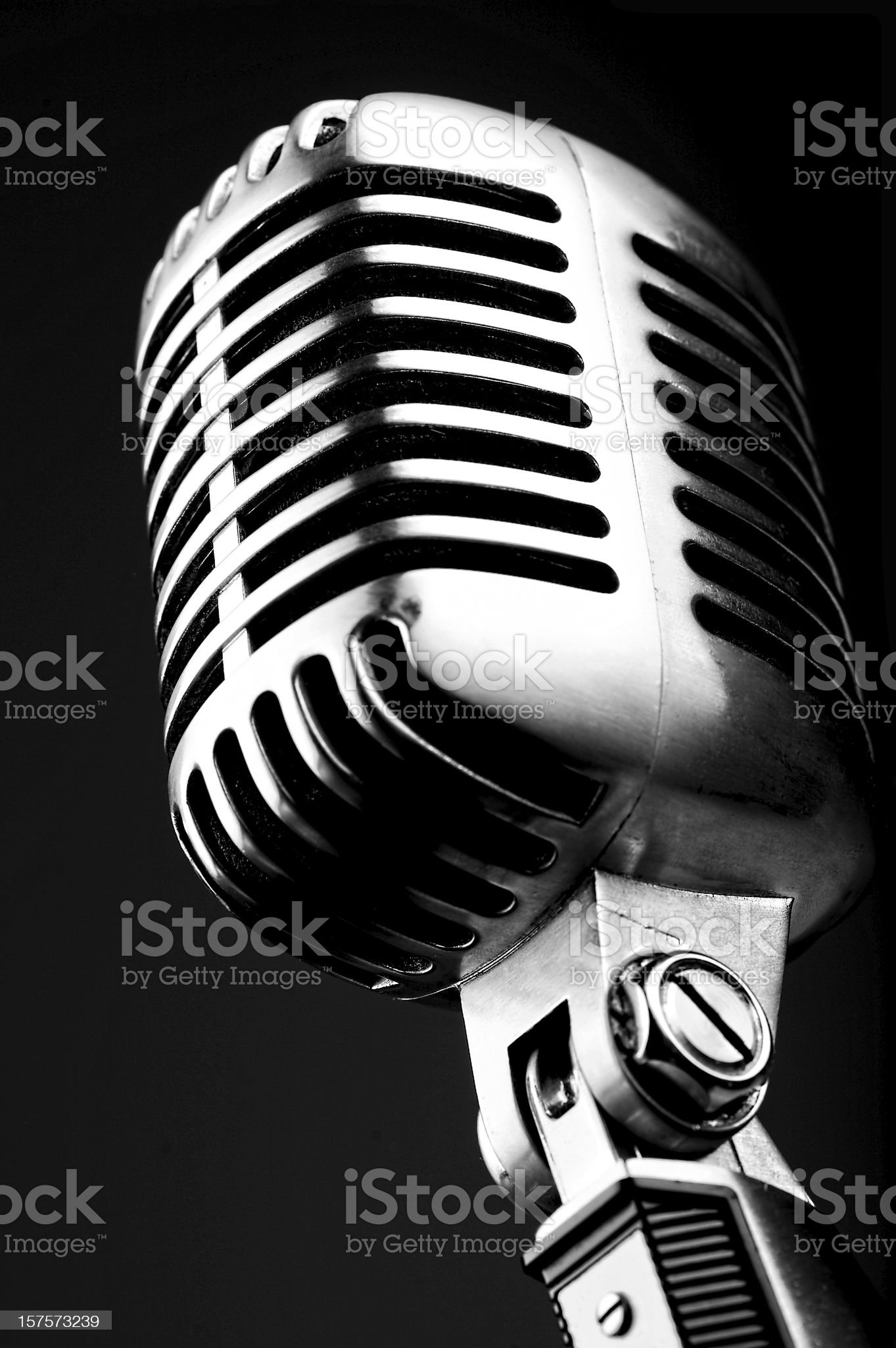 Old microphone, isolated on black royalty-free stock photo