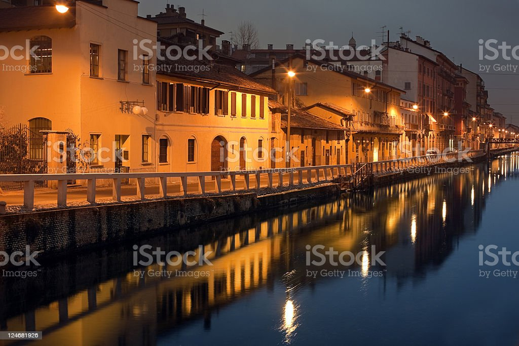 Old Milan by Night, Naviglio. Color Image royalty-free stock photo