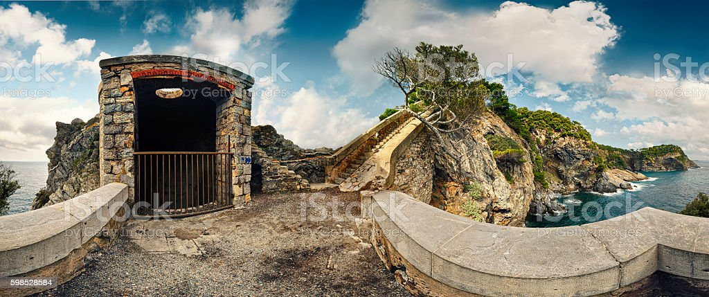 Old Military Base above French Riviera stock photo
