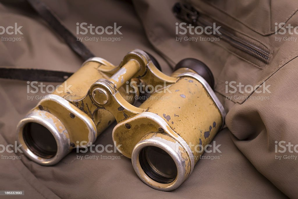Old military binoculars royalty-free stock photo