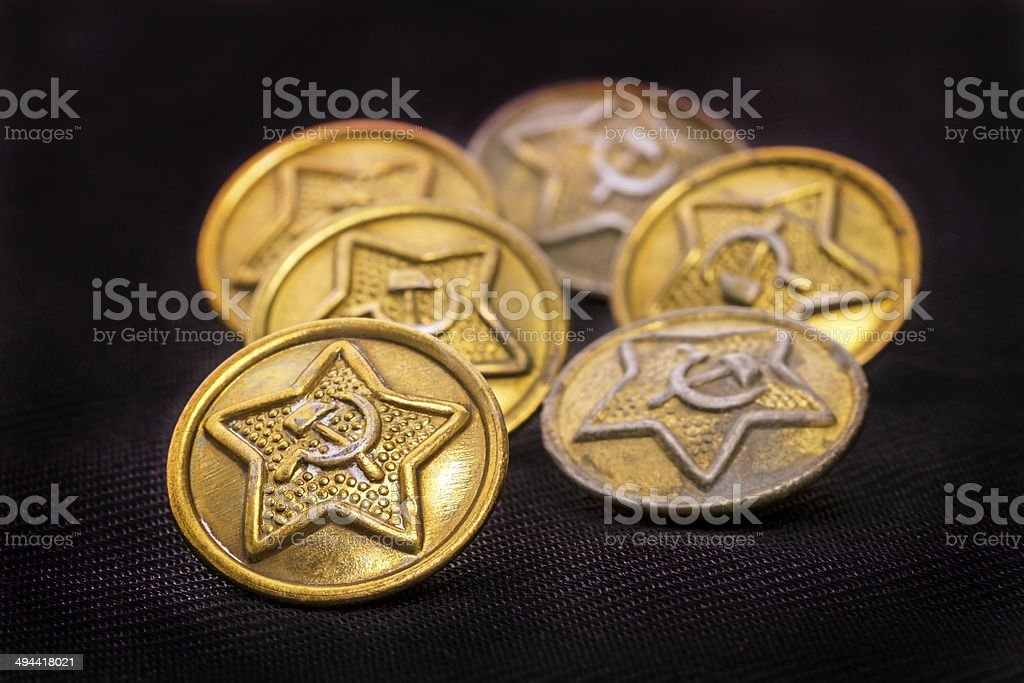 Old military buttons stock photo