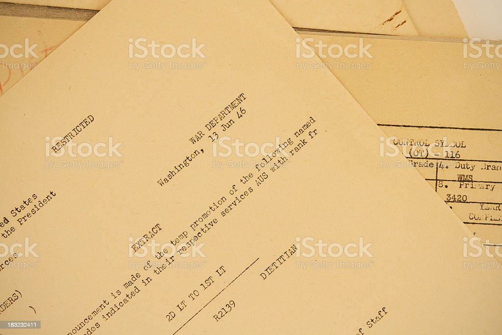 Old Military Paperwork From War Department royalty-free stock photo