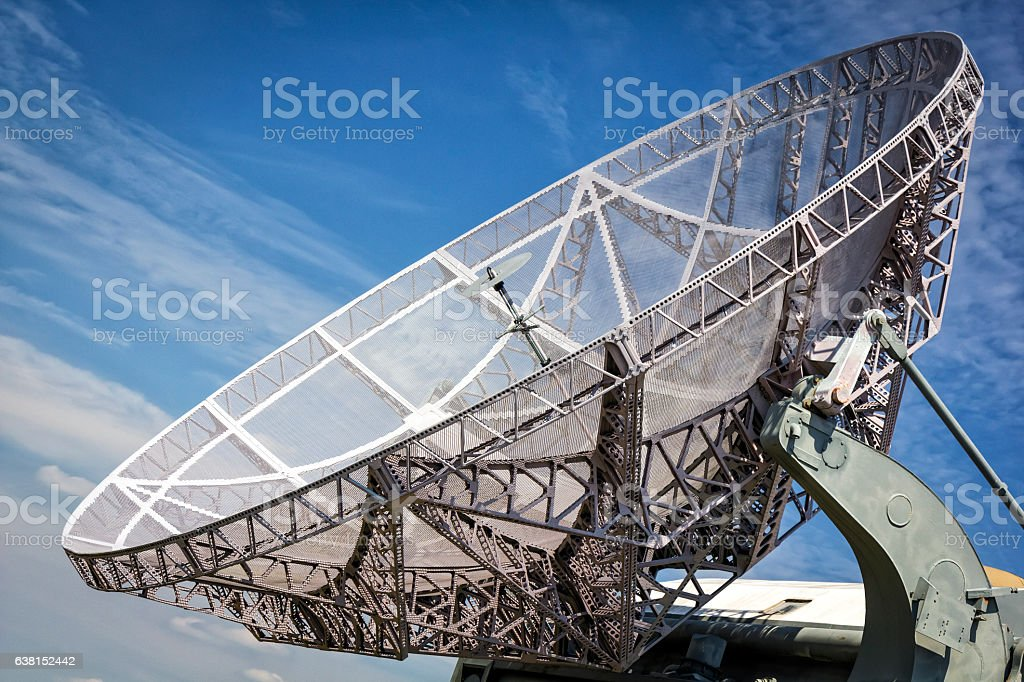Old military radar on the airfield stock photo