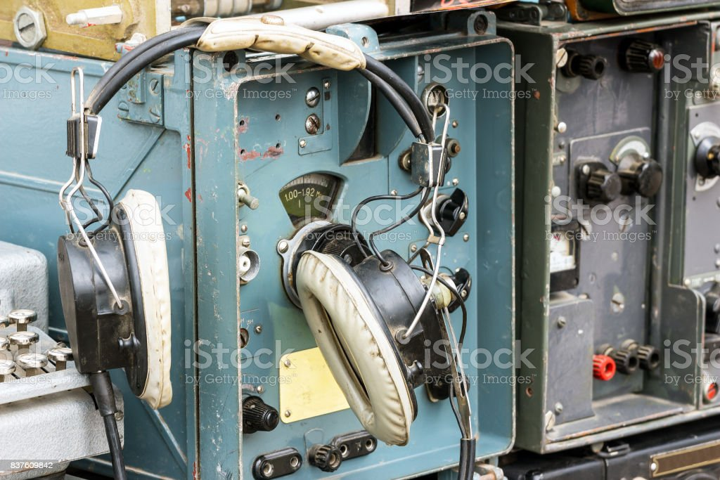 Old military radio station stock photo