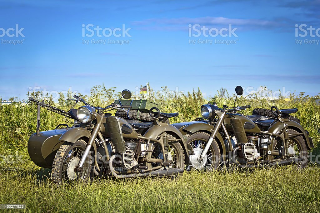 Old military Soviet motorcycles Dniepr K-750 royalty-free stock photo