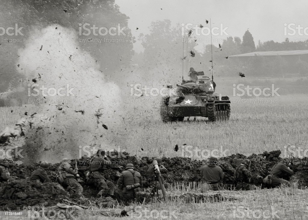 Old military tank on the combat field stock photo