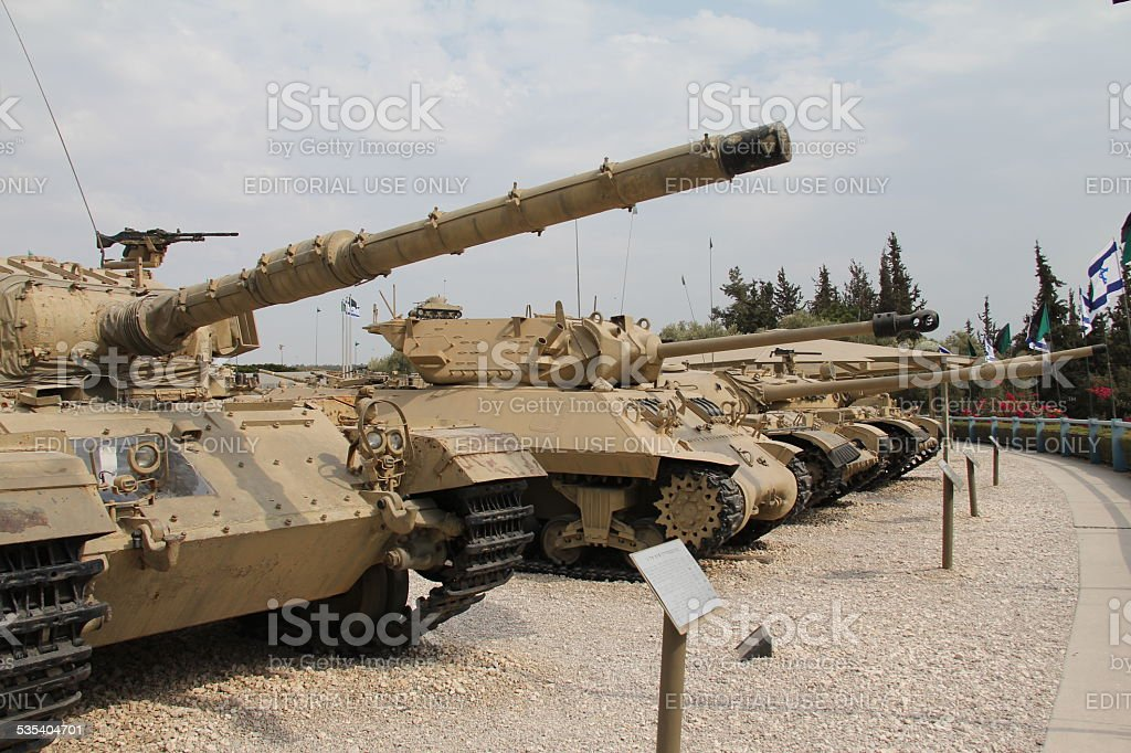 Old military tanks built abreast stock photo