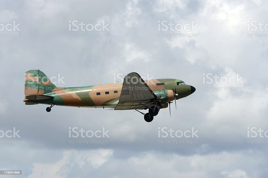 Old military transport airplane royalty-free stock photo