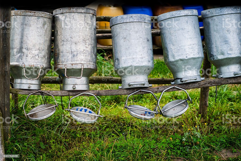 Old Milk Cans Made of Aluminum stock photo