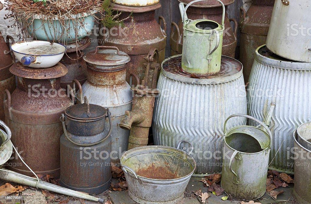 Old milk churns royalty-free stock photo