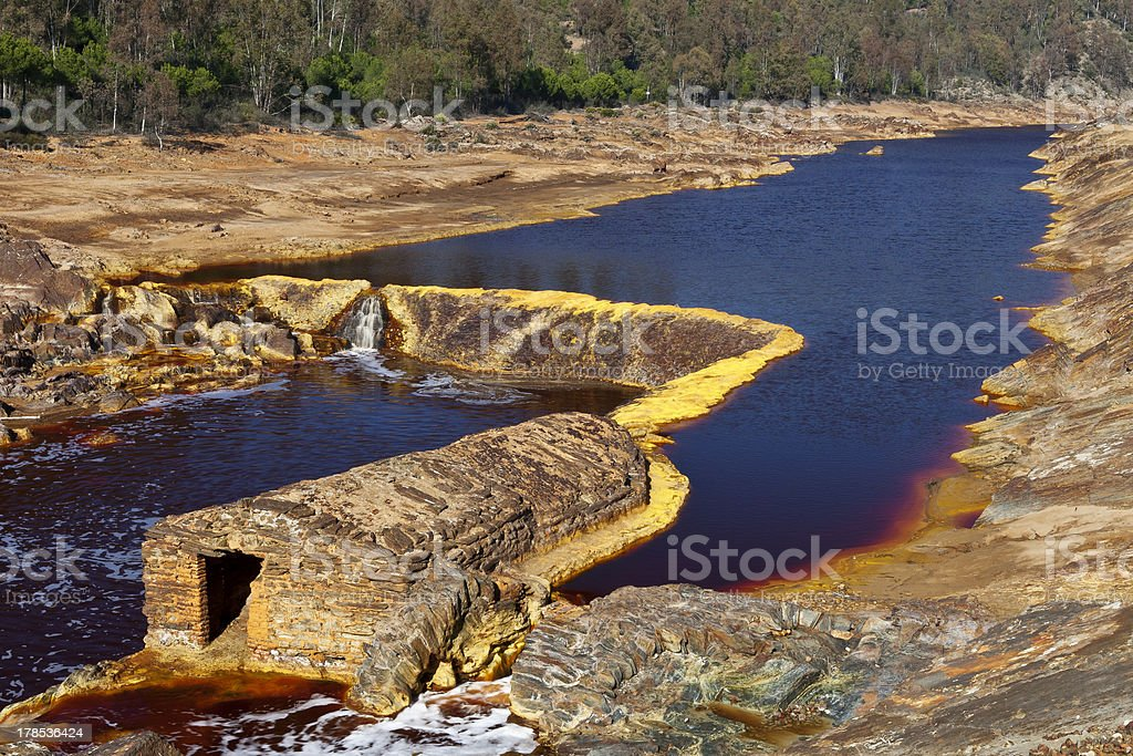 Old mill in the Tinto river, Huelva, Spain royalty-free stock photo